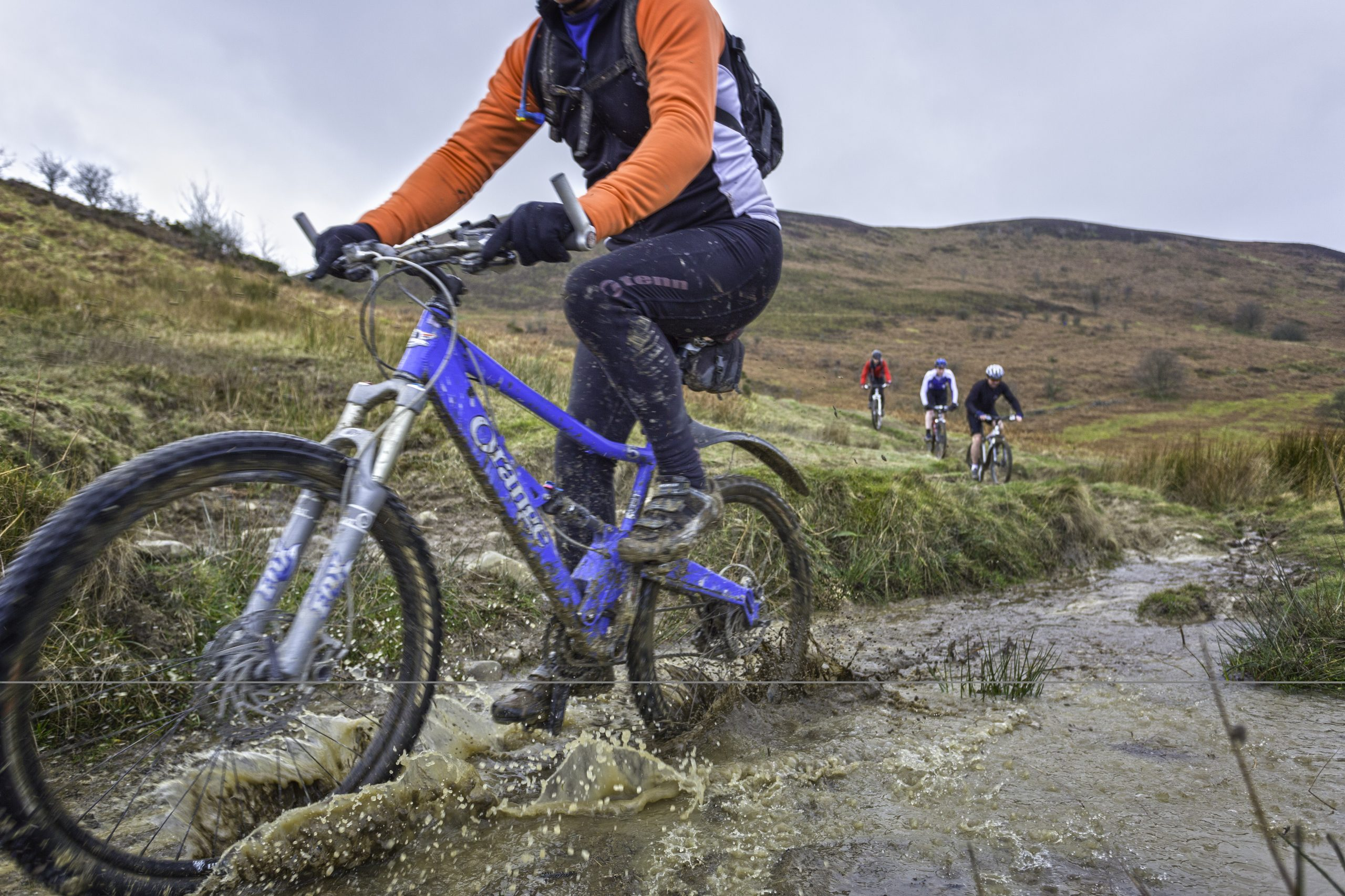 Mountain bikers on Loop de Loop route Clwydian Range